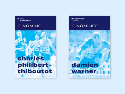 Gala cards blue track and field running design invite logo typography minimal branding