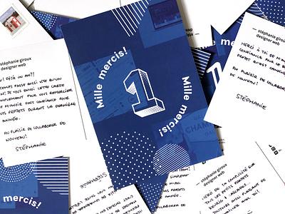 Self promotion postcards 1 year 1 typography self promotion designer blue postcard branding
