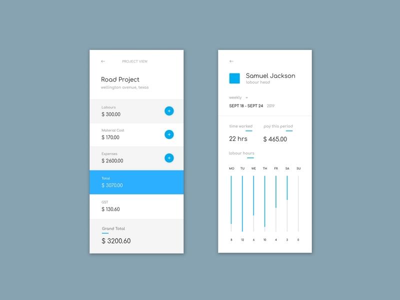 Construction Cost Calculator app ui
