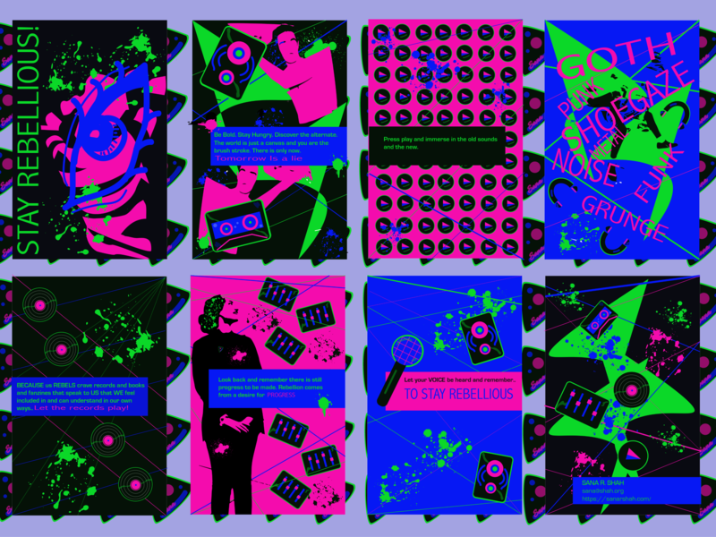 Stay Rebellious Zine Page Layout music neon green blue pink neon pattern print poster retrofuturism punk icon vector
