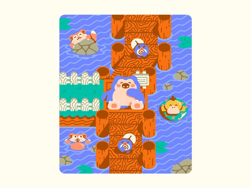 Kanto - Route 12 kanto water psyduck poliwag slowpoke snorlax route 12 illustration gaming nintendo pokemon