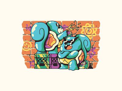 squirtle squad crate spray paint nintendo gaming pokemon illustration squad squirte
