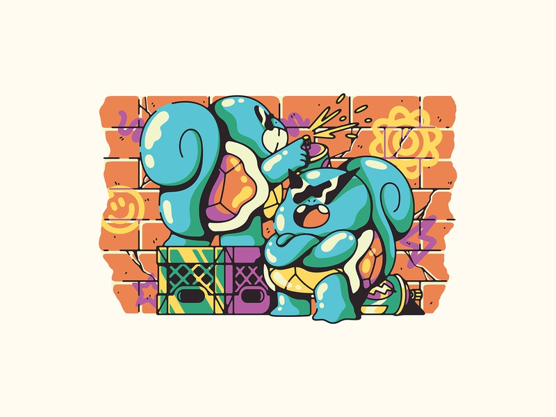 squirtle squad crate spray paint nintendo gaming pokemon illustration squad squirte