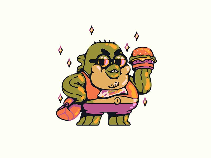 bubble bass pickles burger vector illustration nickelodeon spongebob bass bubble