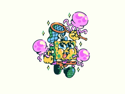 spongebob net jellyfish illustration nickelodeon squarepants spongebob