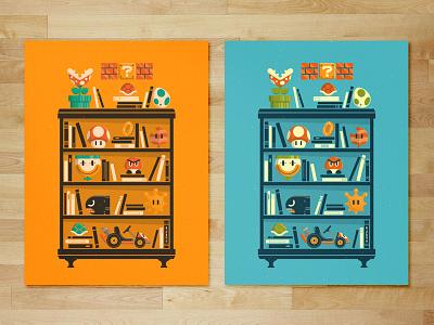 Miyamoto | Mario Shelf coin sunshine yoshi tanooki mushroom mario kart bullet bill nintendo gaming shelf super mario illustration