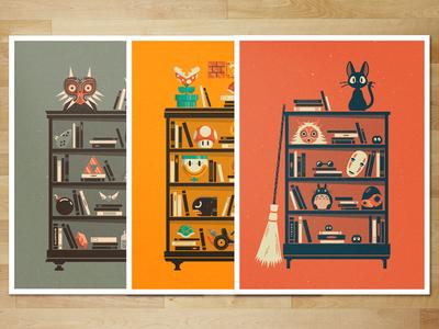 Shelf Prints | Etsy print etsy shelf miyamoto miyazaki nintendo gaming zelda mario ghibli illustration