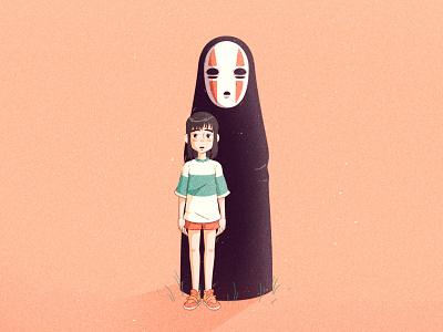 Spirited Away | Chihiro & No Face illustration chihiro no face film miyazaki spirited away ghibli