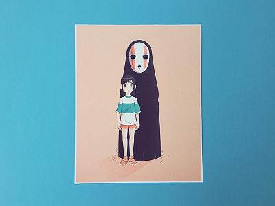 Spirited Away | Chihiro & No Face print illustration film ghibli shop print spirited away miyazaki no face chihiro