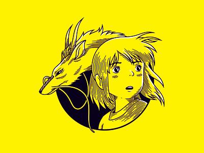 Chihiro & Haku | Spirited Away studio ghibli illustration haku chihiro miyazaki spirited away