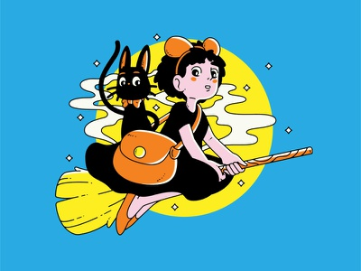 Kiki's Delivery Service kikis delivery service miyazaki ghibli jiji kiki illustration