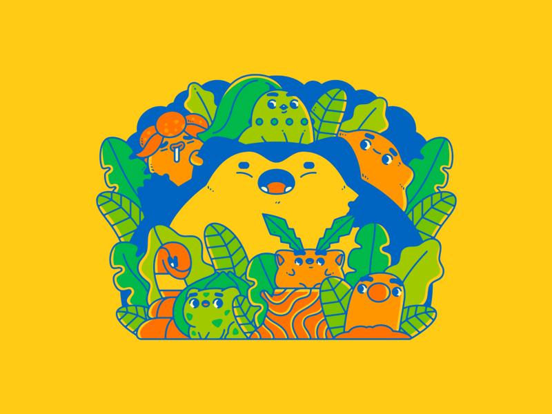 Poke Pals ekans bulbasaur diglett hoppip chikorita gloom ditto snorlax nintendo pokemon gaming illustration