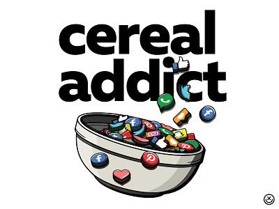Cereal Addict playful addiction social network social media cereal illustration happyimpulse happy impulse