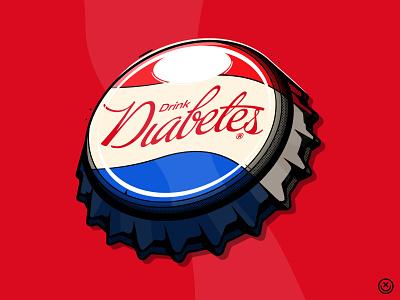 Drink Diabetes sugar cola drink bottle can pop soda coke illustration happyimpulse happy impulse