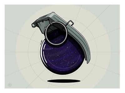 Space Grenade galaxy stars space weapon creative grenade illustration happyimpulse happy impulse