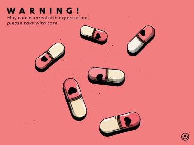 Love drug design addiction pill creative logo drug happyimpulse happy impulse