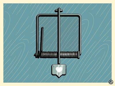 Like Trap trap post instagram social socialmedia love like notification addiction playful creative illustration happyimpulse happy impulse