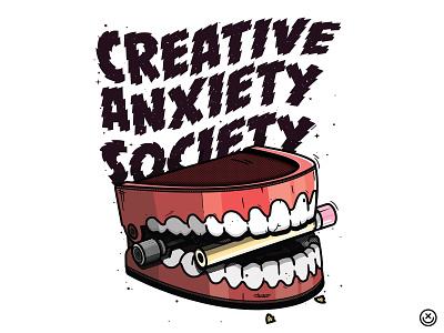 Creative Anxiety Society pencil teeth chattering stess anxiety society creative illustration happyimpulse happy impulse