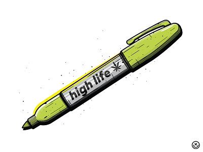 High Life happyimpulse happy impulse high llife 420 puff puff pass get high marijuana cannabis weed stoner art