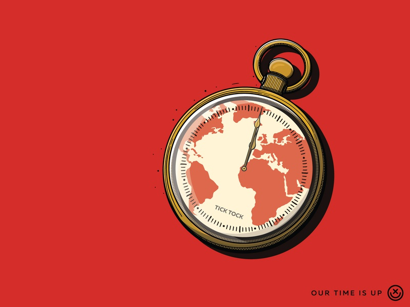 Our Time Is Up play creative tock tick global warming earth pocket watch watch time clock illustration happyimpulse happy impulse