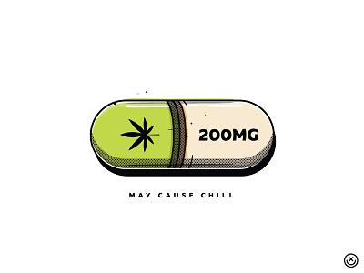 Chill Pill mary jane marijuana cannabis high weed drug drugs pills addiction creative playful illustration happyimpulse happy impulse