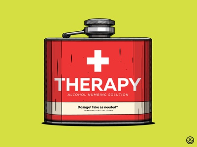 Therapy whiskey flash therapy alcohol drinking creative playful illustration happyimpulse happy impulse
