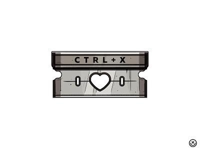 CTRL X love self-harm cut blade razor illustration happyimpulse happy impulse