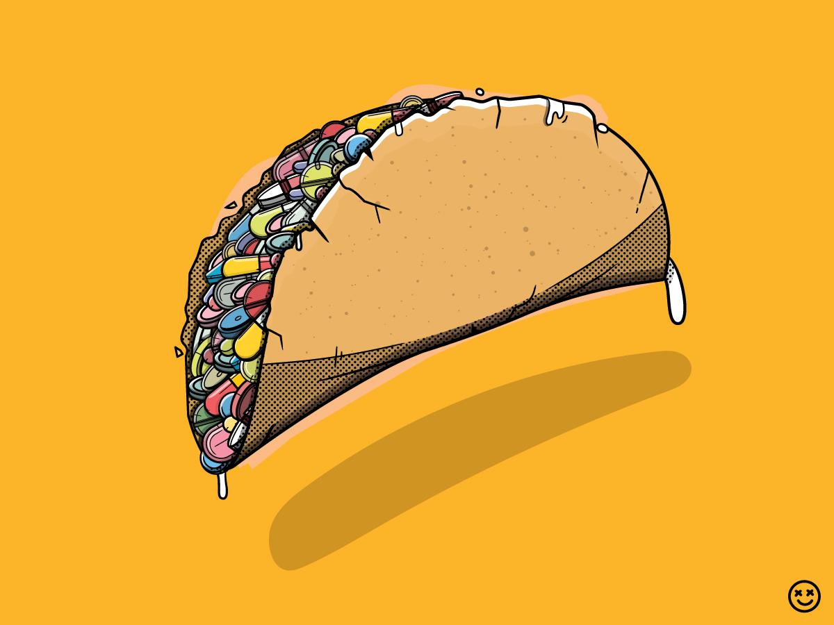 Taco Overdose taco happy impulse happyimpulse food drugs pills addiction overdose illustration
