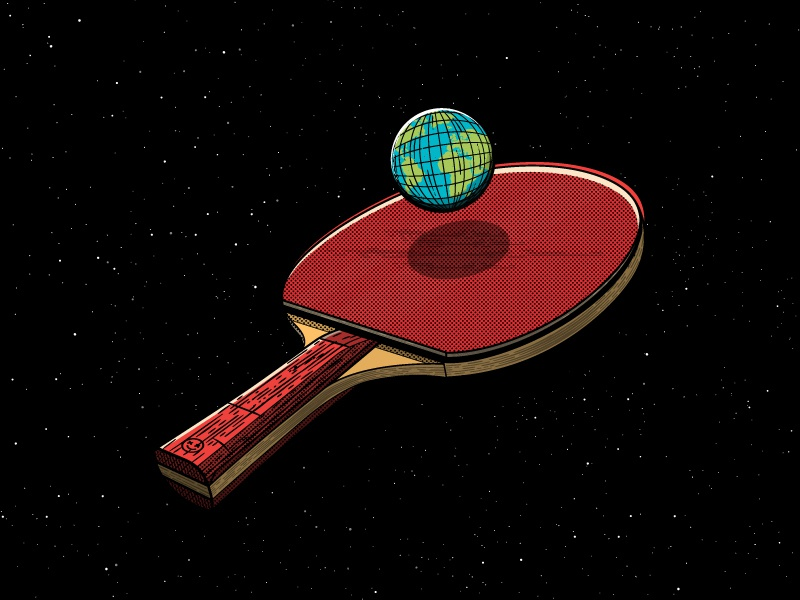 Humanity creative sport paddle ball earth play fun happy impulse happyimpulse happy ping pong