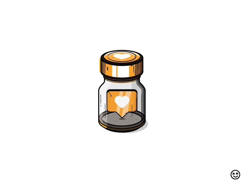 Love Potion happyimpulse vial jar glass bottle like love heart craving elixir happy impulse stimulant pill narcotic addiction drug potion social media