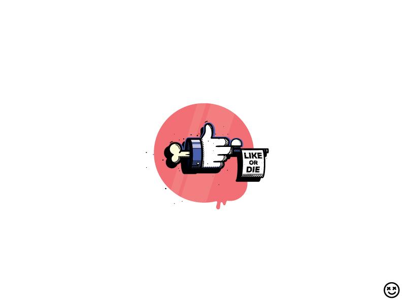 Like Or Die 2 fun happyimpulse happy impulse likes thumbs up infatuation flag gun middle finger die thumb social media like