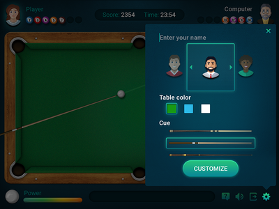 Pool game ui casual settings customize game