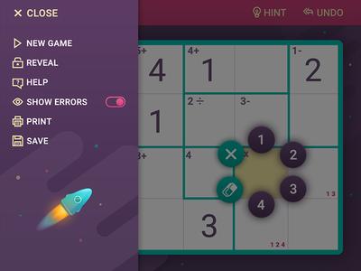 Menu panel for MathDoku game casual game icons menu rocket popup