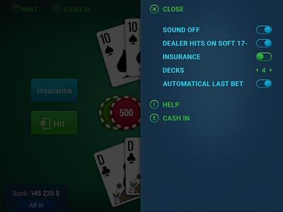 BlackJack Game (menu panel) blackjack ui game casual cards