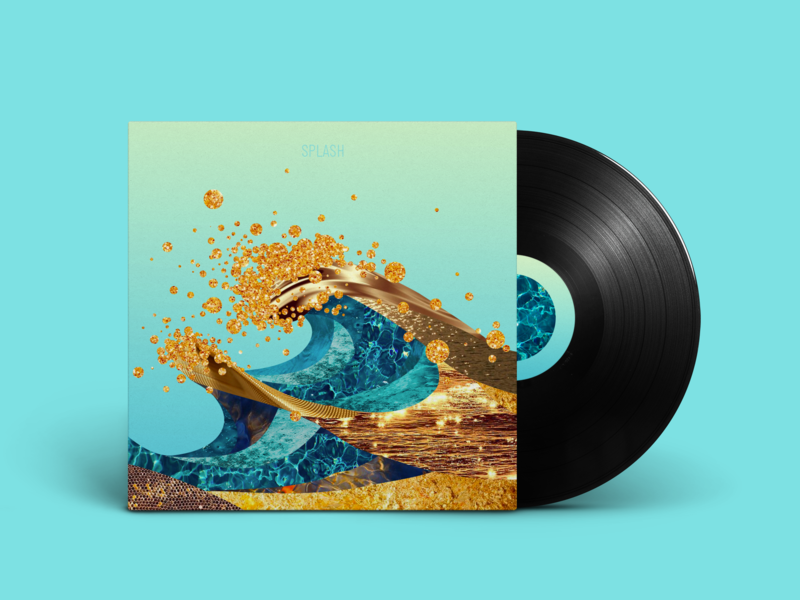 Splash textures colors waves collage music vinyl cover