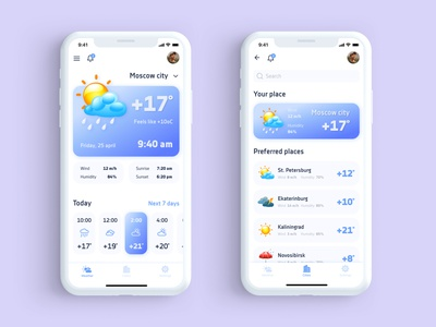 Weather App clean design ios app design travel app weather app uxui design figma mobile app design