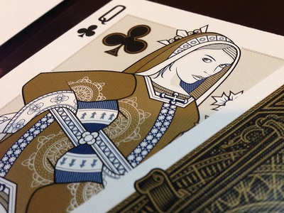 Queen gold embossed playing cards origins