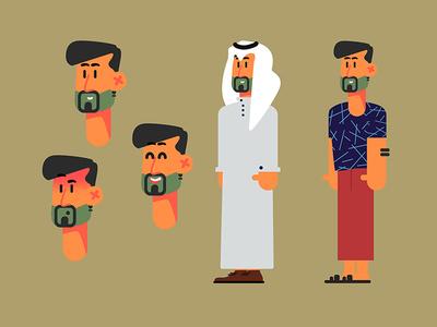 A Kuwaiti man ٌready for vacation sea vacation man anmation illustration motion charcter-design charcter kuwait