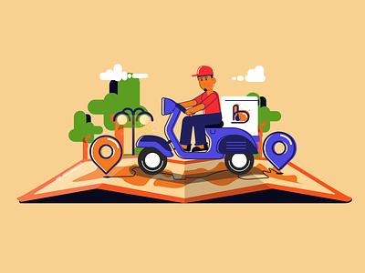 Delivery boy dribbble menue restourant illustraion motion animation charachter design order location delivery