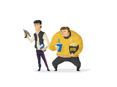Starwars Premier! Don't judge us. popcorn vector illustration pixel fana art movie force awaken star wars star trek kirk captain spok