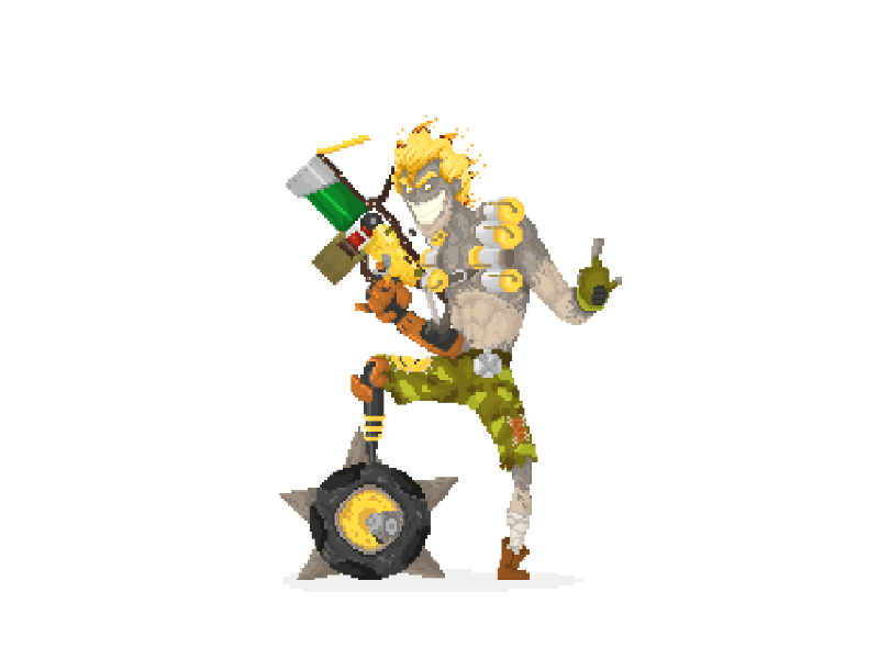 dribbble_junkrat Pixel Art Overwatch @koolgadgetz.com.info