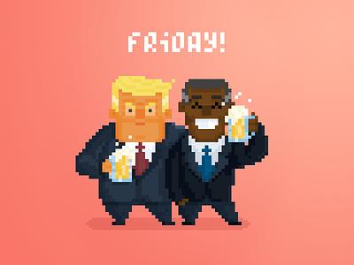 Unlikely Drinkin' Buds pt.3 flat 8-bit cute art design character pixel illustration trump obama