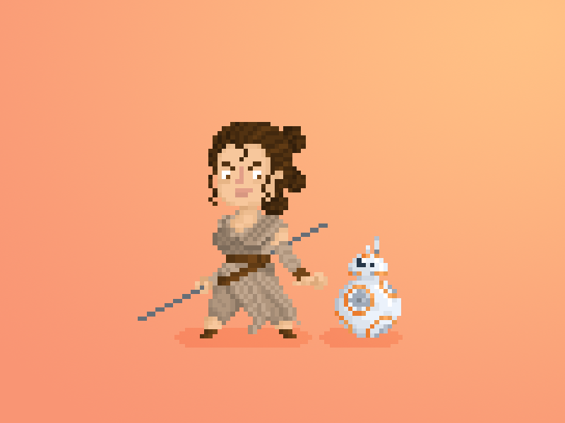 Pixel Little Guys Gals 59 Force Awakens By Anthony Mendes