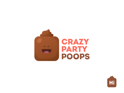 Crazy Party Poops Logo card  game branding logo vector art character flat cute illustration design