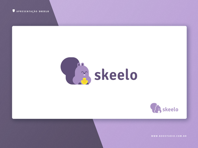 Skeelo Iteration 3 - Alternate Color app branding brand identity squirrel illustration typography branding geek logo vector flat cute design