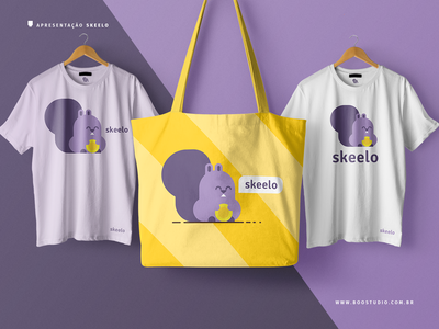 Skeelo Iteration 3b - Alternate Color purple coin squirrel brand identity typography branding logo vector flat cute illustration design bag design tshirt design