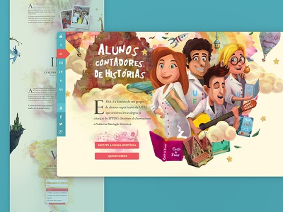 Student Storytellers Hotsite child colorful fantasy beige kids illustration interface ui