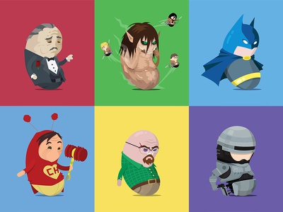 Fellowbeans color illustration pop robocop walter white breaking bad batman chapolin godfather beans