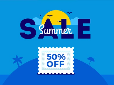 Summer Sale Banner blue beach promotion 50off summer sale