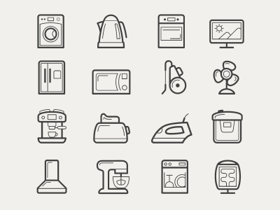 Home appliances icon set home appliances icon set line wireframe cup washing machine teapot stove plate oven dmitry kalabin kit8